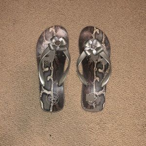 BCBG Flip Flop Sandals Sparkle and Silver Straps